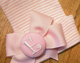 Monogramed Initial Button with Bow on Pink/White Stripe Newborn Hospital Hat! 1st Keepsake!