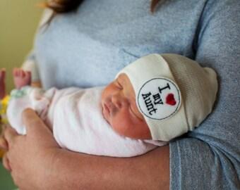 Newborn Beanie Hat. I LOVE My Aunt! Choice of Hat Colors. Super Cute. Perfect Gift! Newborn Hospital Hat. Baby's 1st Keepsake!