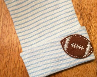 Newborn Hospital Hat w/Football. Baby Newborn Beanie. Baby Hat. Perfect for Hospital Stay and coming Home. Great Gift!