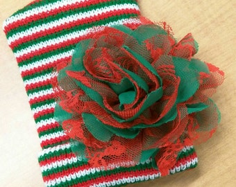 HOLIDAY Babies! Newborn CHRISTMAS Holiday Hospital Hat with a Red and Green Flower! Choice of Hat. Baby's 1st Keepsake!