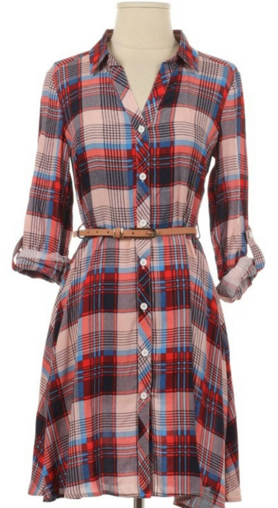Beautiful 2016 Flannel Women Long Shirts Red Plaid Blouses Long Shirt Dress