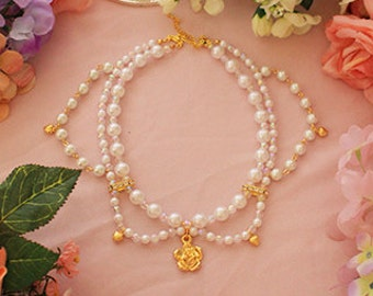 O034Rose Princess pearl necklace