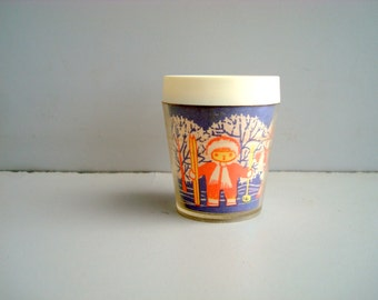 Vintage Soviet plastic cup, Russian kids mug with Christmas ornament, small cup for cold drinks from 1970s