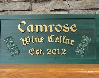 Wine Sign Wood Wine Cellar Sign Personalized Wine Cellar Sign Custom Carved Wood Wine Sign Wine Cellar and Grapes Sign Rustic