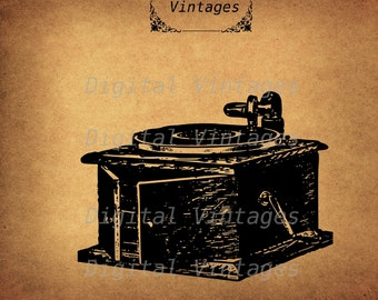 Vintage Victrola Phonograph Edison Royalty Free illustration Vintage Digital Image Download Printable Graphic Clip Art HQ 300dpi svg jpg png