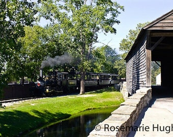 Bridge & Locomotive - Original Fine Art Photograph - Covered Bridge - Steam Locomotive