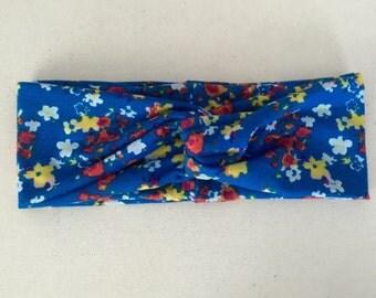 Blue Floral Turban Twist Head Wrap, Headband