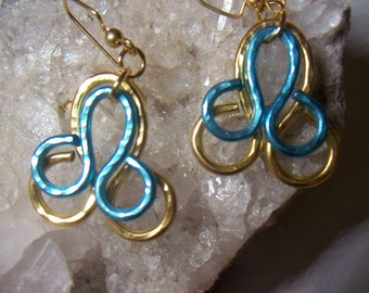 Aqua and Gold Cathedral Window Aluminum wire earrings