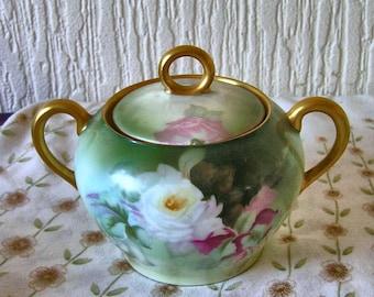 "VinAntique Hand Painted ""Thomas"" Floral Porcelain Sugar Pot Bavaria Signed Phillips   WORLD WIDE SHIPPING"