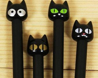 Black Cat, Black Cat Pen, Cute pen, Cartoon pen, Gel pen