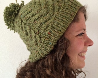 Green Cable and Pom Pom Slouch Beanie
