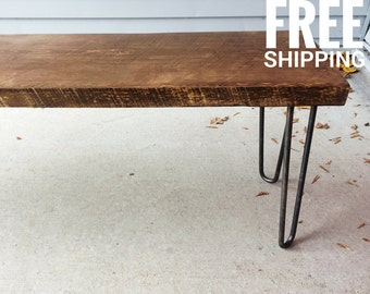 Hairpin Wood Bench, Entry Bench, Dining Bench  | Modern Decor | Free Shipping