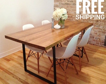 reclaimed wood dining table recycled metal legs by ateliereben. Black Bedroom Furniture Sets. Home Design Ideas