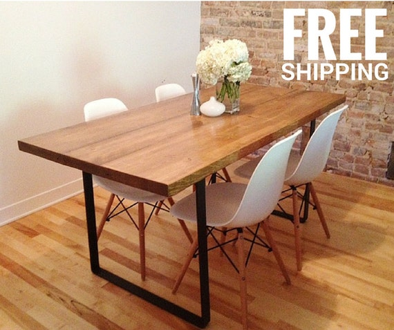 Items Similar To Dining Table Kitchen Table Metal Base Reclaimed Wood Tabl