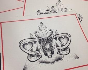 "Dotwork Moth to a Flame 8""x10"" print"