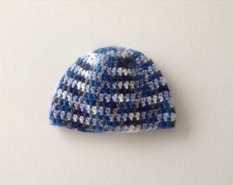 Blue baby hat. Size: 3 - 6 months. Crochet beanie. Baby boy. Ready to ship