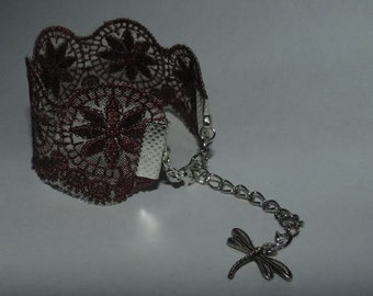 Brown Lace & Dragonfly Charm Bracelet