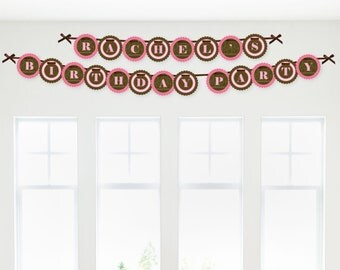 Pink Elephant Birthday Banner - Happy Birthday Garland Banner
