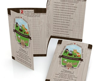 12 Woodland Creatures Printed Game Cards - 5-in-1 Baby Shower Games Printed and Personalized