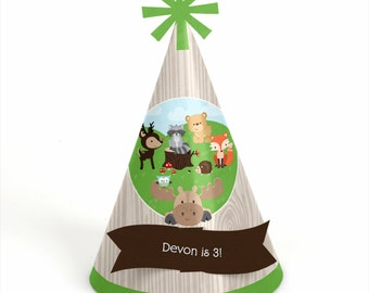 8 Woodland Creatures Birthday Party Hats - Personalized Forest Friends Animal Birthday Party Supplies - Set of 8