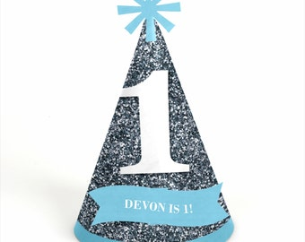 8 Fun to be One - 1st Birthday Boy Party Hats - Personalized Boy Birthday Party Supplies - Set of 8
