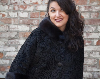 Gorgeous Black Persian Wool Jacket with mink collar and cuffs - free shipping!