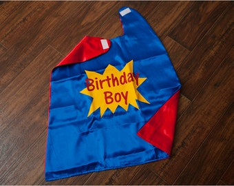 Birthday Boy Superhero Cape Reversible and Quick to Ship! Glitter Cape for Superhero Party or Classroom