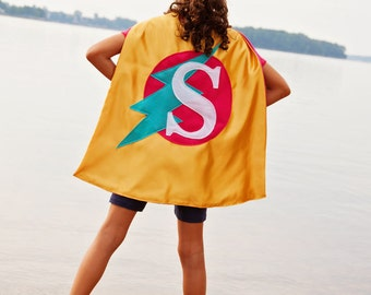 FREE MASK - Handmade Cape - Handmade Capes - Pink Yellow Cape - Girls Superhero Cape - Lightning Bolt Cape - Ships Quickly