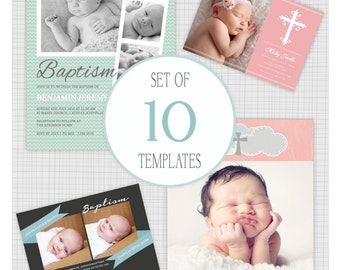 INSTANT DOWNLOAD: 10 PSD Baptism and Christening Invitation Templates. Mixed designs. Mini Pack 27.