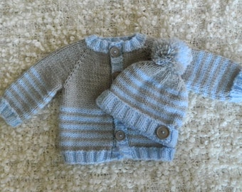 Knit Baby Blue And Grey Striped Baby Boy  Sweater and Hat Set  Acrylic Polyamide Yarn Birthday Baby Shower