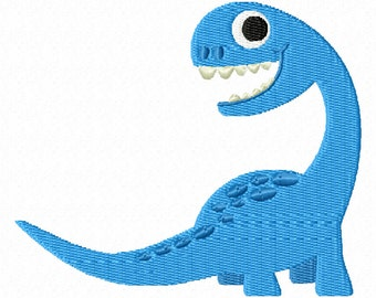 Blue Brontosaurus Dinosaur Embroidery Design