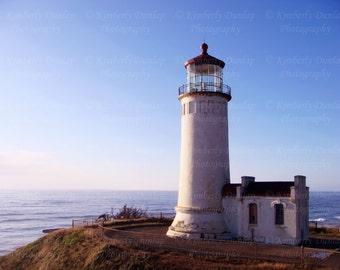 Lighthouse Photograph {Beach Photography, Large Wall Art, Nautical Picture, Ocean Living Room Decor, Coast Photo, Coastal Canvas Print}