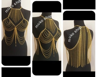 gold body necklace, vest chain, body harness, gold body  harness, festival jewelry, body jewelry, body chain, mk*8