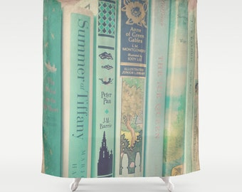 Mint Books Shower Curtain: Home decor, green, books, library, librarian, bathroom