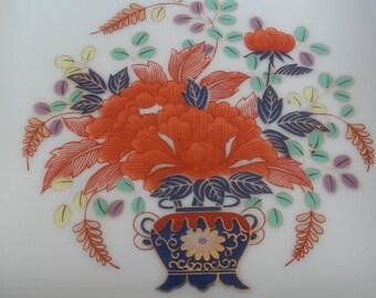 Square Asian Floral Ceramic Dish!