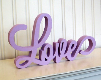 LOVE Wood Sign, Love Word Sign. Lavender Love Letter Sign