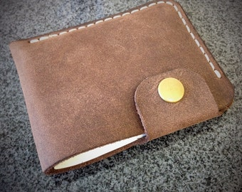 Leather Minimalist Snap Wallet - Brown Crazy Horse