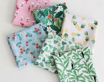 Summer Flower,Forest,Pineapple Pattern Linen Blended Panel Fabric (6 Designs Package)