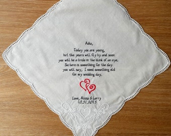 Personalized Wedding Handkerchief for bridesmaid. Bridesmaid handkerchief. Gift to bridesmaid! Today you are young!!!