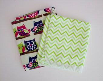 Owl Print Receiving Blankets - Two Receiving Blankets - Owl Theme Receiving Blanket