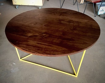 Modern Coffee Table,  Round Table with Solid Walnut Top and Triangle Steel Base,