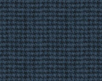 45'' Maywood Studios Navy Hounds Tooth Woolies Flannel MASF 18503-N by the Yard