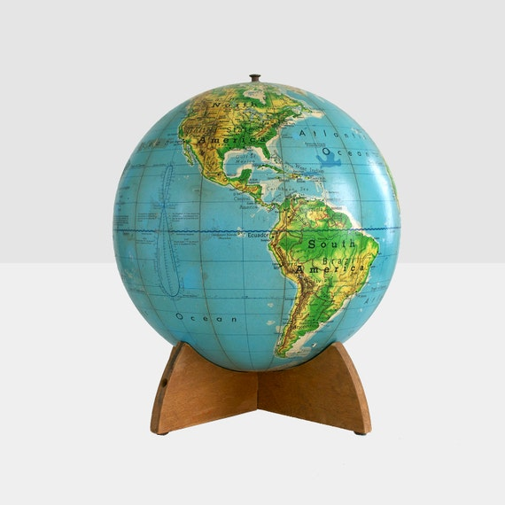 """RESERVED FOR LAURA:  vintage world globe, 1968 world globe,  cartocraft visual relief 12"""" globe, globe with wood base,"""