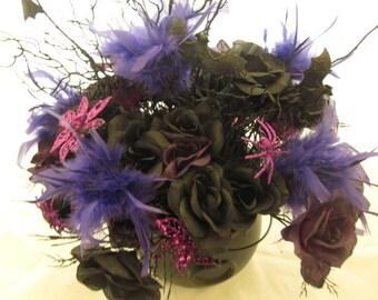 Halloween Black Roses Centerpiece