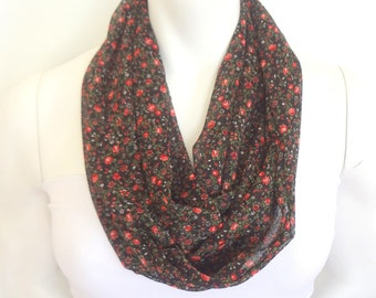 Summer Scarf, Floral Infinity Scarf, Fashion Scarf, Lightweight, Sheer Scarf, Red and Black Scarf,