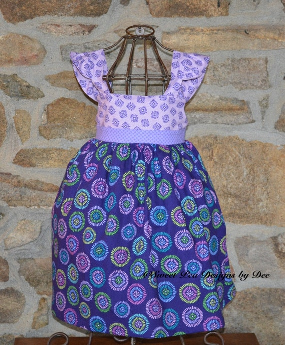 Jewel tone sundress, girls purple dress, birthday dress, flowered dress , toddler dress, flutter sleeve dress, jumper,