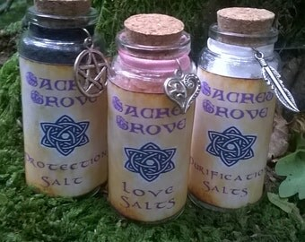 Witch Salt Trio Cleansing, Protecting and Love  Ritual - Pagan Wiccan Witch Witchcraft Shamanic Magick Spell