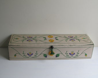 Vintage linen embroidered glove or doll storage box, Arts and crafts styled jewelry box, large box by City and Guilds