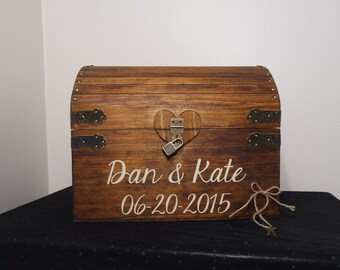 Rustic Wooden Wedding Card Chest With Card Slot, Personalized Wedding Card Box, Wedding/Anniversary Gift, X Large Keepsake Chest, Card Chest