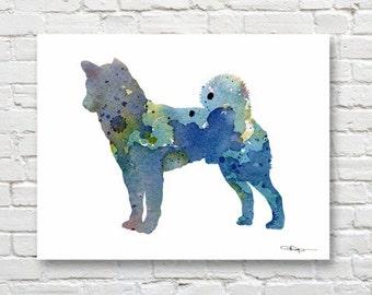 Blue Akita Art Print - Abstract Watercolor Painting - Wall Decor
